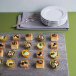 Vegetarian Canape Selection  24 pieces - £15  6 x Black olive and feta quiches  6 x Parmesan and pea mousse in carrot cups  6 x Roast red pepper and goats cheese spinach cups  6 x Mushroom and tarragon bouchees