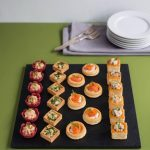 Luxury Fish Canape Selection  24 pieces - £19.50  6 x Smoked Trout pate in beetroot cups  6 x Crab and tarragon puff pastries  6 x Smoked Haddock and chive quichettes  6 x Smoked Salmon galettes with lemon creme fraiche